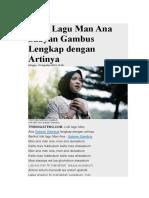 Lirik Lagu Man Ana Sabyan Gambus Lengkap Dengan Artinya