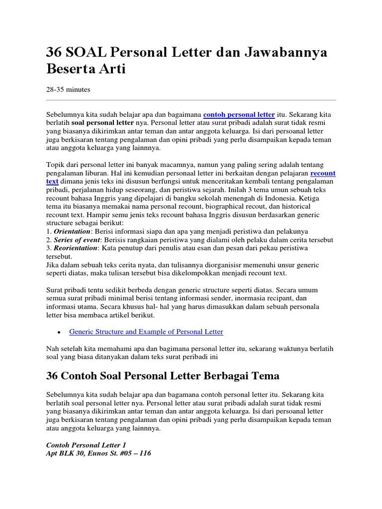 36 Soal Personal Letter Dan Jawabannya Beserta Arti Docx