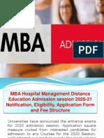 MBA[HMDE] Hospital Management Distance Education Admission Session 2020-21