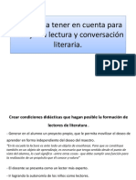 Aspectos a Tener en Cuenta Para Trabajar La Lectura y Coversacion Literaria