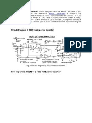This 1000 Watt Power Inverter Circuit Diagram Based On Mosfet Rf50n06