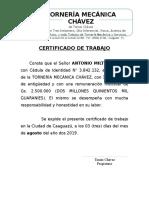 Certificado de Trabajo Tornería Mecánica Chavez