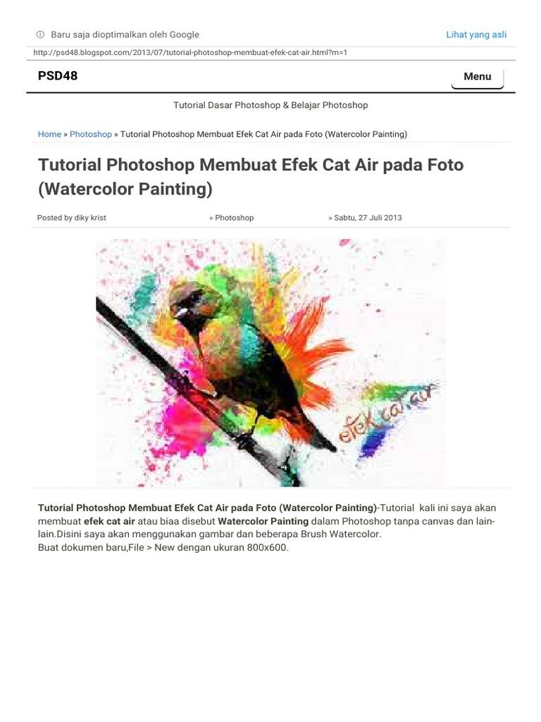 Tutorial Shop Membuat Efek Cat Air Pada Foto