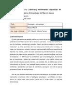 Ficha Marcel Mauss - Técnicas y Movimientos Corporales