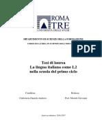 TESI- La Lingua Italiana Come L2 Nella Scuola Del Primo Ciclo