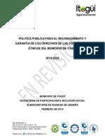 Política Pública Étnica Municipio de Itaguí