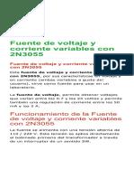 Fuente de Voltaje y Corriente Variables Con 2N3055 - Electrónica Unicrom
