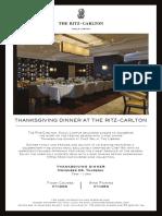 Thanksgiving at The Ritz Carlton Kuala Lumpur