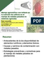 Manejo Agronómico Con Énfasis en La Nutrición de Cultivos en El Manejo de Metales Pesados