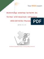 Biztonsági adatlap tartalmi és formai előírásainak változása 453 2010 EU Rendelet