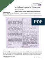 Traitement Par Plasma Riche en Plaquettes en Rhumatologie