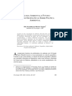 PSICOLOGIA AMBIENTAL E FUTURO - REFLEXÕES GEOPOLÍTICAS SOBRE POLÍTICA AMBIENTAL