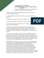 Código Naciocional de Policia Articulo 27 Comportamientos