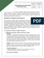 Standard Operating Procedure Fortified Milk Testing