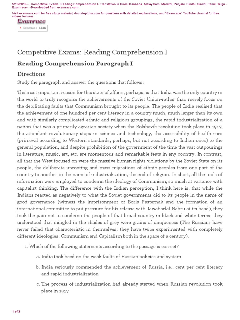 - Reading Comprehension Paragraph I Soviet Union International