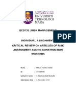 Critical Review on Risk Assessment Among Construction Workers