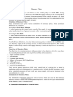 Unit II Monetary Policy