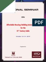 National Seminar on Affordable Housing at NLU Delhi, October 18-19, 2019