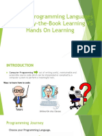 Learning Programming Languages Through By-the-Book Learning VS Hands On Learning