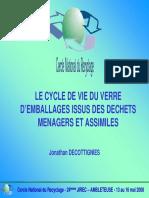 Le Cycle de Vie Du Verre d Emballages Issus Des Dechets Menagers Et Assimiles