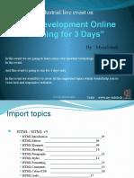 Web Development Online Training for 3 Days