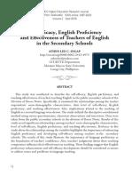 English Proficiency of Teachers