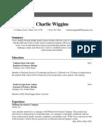 charlie wiggins- resume class