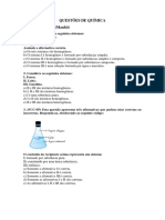 Questões de Química - Prova Bimestral