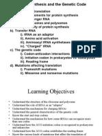 Genetics, Lecture 6, Translation 1 (Slides)