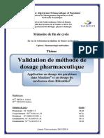 Validation de Methode de Dosage Pharmaceutique...