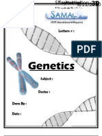 Genetics, Lecture 11 (Lecture Notes)