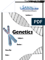 Genetics, Lecture 13 (LEcture Notes)