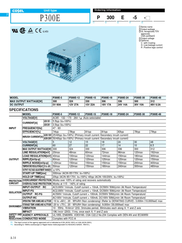 Cosel P300e 15 Datasheet Power Physics Electrical Components