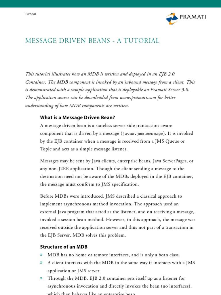 Message Driven Beans | Enterprise Java Beans | Computing