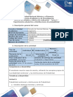 Guía de Actividades y Rúbrica de Evaluación - Tarea 2 - Experimentos Aleatorios y Distribuciones de Probabilidad.
