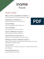 Inamo Food Menu 2019