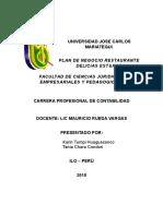 Proyecto de Emprendimiento - Plan de Negocios Para El Curso de Gestión de La Calidad y Competitividad x 2019 II Contabilidad