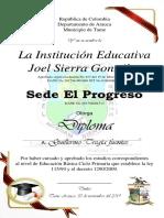 Diploma Grado 5 - El Progreso