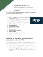 Definir los factores críticos de éxito (FCE).