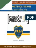 Cb Consultora - Encuesta Boca Juniors - 24 de Noviembre de 2019 - 538 Casos - 4,2% m. de Error