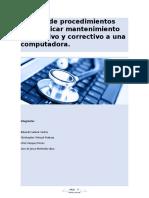 Manual de procedimientos para aplicar mantenimiento preventivo y correctivo a una computadora
