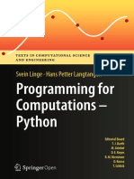 Programming for Computations, Python a Gentle Introduction to Numerical Simulations With Python by Svein Linge and Hans Petter Langtangen