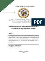 Universidad Técnica de Ambato Facultad de Ingeniería Civil y Mecánica Carrera de Ingeniería Mecánica