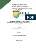 La Gestión de Personal y la Evaluación de Desempeño en la Unidad de Gestión Educativa Local de Huánuco 2019