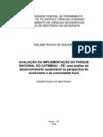 Estudo de implantação de possível reserva do Catimbau