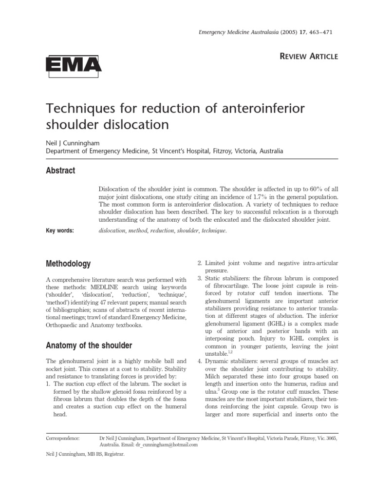Shoulder Dislocation Techniques | Anatomical Terms Of Motion | Shoulder