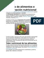 Tabla de Alimentos e Información Nutricional