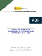 Informe Potencial Cogeneracion en Espana
