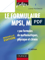 Le Formulaire MPSI-MP 1500 Formules de Mathématiques, Physique Et Chimie 4e Edition - Dunod