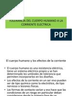 TOLERANCIA DEL CUERPO HUMANO A LA CORRIENTE ELECTRICA
